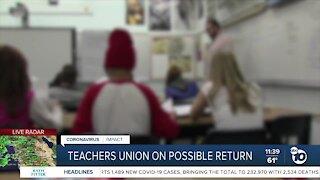 Teachers union speaks on possible return