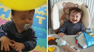 Hysterical compilation of baby getting hit in the head with a balloon