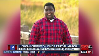 Local teenage boy finds a partial match while battling cancer