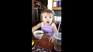 Little Girl Funny Reaction Mom Steals a Bite of Birthday Cake Ice Cream