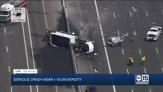 Serious crash involving semi on I-10 near Salt River Bridge