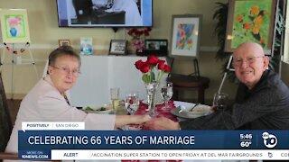 Couple celebrating 66 yrs. of marriage