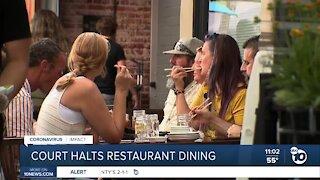 Court halts restaurant dining in San Diego County