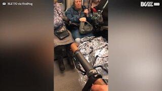 Elle pète un câble dans le métro de Boston