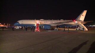 President Donald Trump arrives at Palm Beach International Airport after Florida rallies