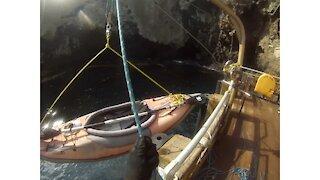 Launching a kayak at Anacapa