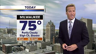 Breezy with a slight chance for showers Thursday
