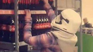 Woman wears Stormtrooper mask against coronavirus!