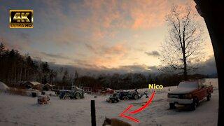 Stunningly beautiful 4K snowy sunset time lapse