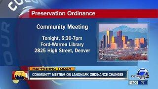 Community meeting on landmark ordinance changes