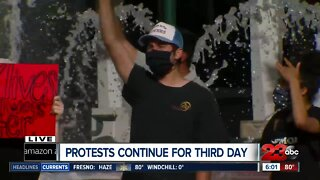 Day three of protest unfold in front of mechanics bank arena