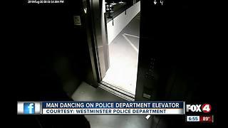 Man Dancing on Police Department elevator