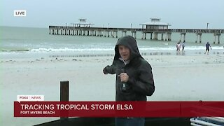 Rain and wind on Fort Myers Beach as the core of Tropical Storm Elsa approaches Southwest Florida