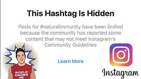 Instagram Blocked The Hashtag #NaturalImmunity (Insane Level Of Censorship)