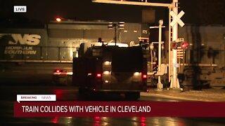Crash involving train, vehicle blocks several intersections