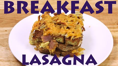 Ham and cheese breakfast lasagna