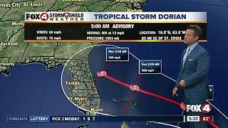 Tropical Storm Dorian -- 8am Wednesday update