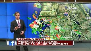 Wind knocks over block wall into construction workers