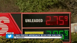 Gas prices could soon reach $3 per gallon