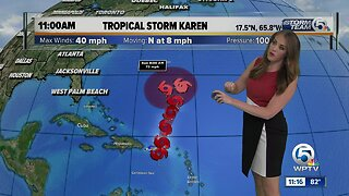 Karen strengthens back into tropical storm