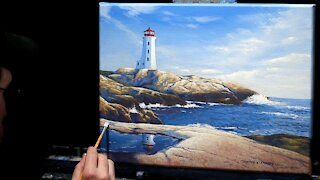 Acrylic Seascape Painting of a Lighthouse and Rocky Bay - Time-lapse - Artist Timothy Stanford