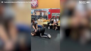 Personal trainer's client farts while stretching