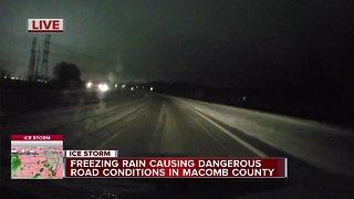 Freezing rain causing dangerous roads in Macomb County
