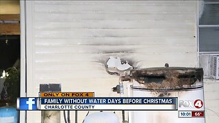 Punta Gorda family without water, home after fire