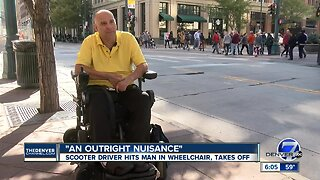 Denver man says a scooter rider on the sidewalk slammed into his wheelchair