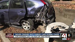 Driver crashes into parked cars during chase