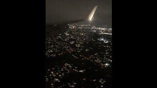 Beautiful Night Flight Over Dallas and a Bumpy Landing lol