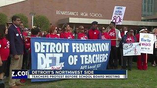 Detroit teachers picket before school board meeting