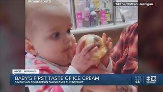 Baby's first taste of ice cream