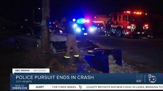 Police pursuit ends in a violent crash
