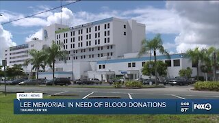 Lee Memorial in need of blood donations