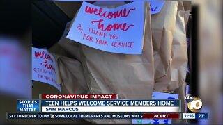 Teen helps welcome service members home