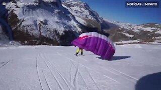 """""""Speeriding"""": parapente e esqui em um único esporte alucinante"""