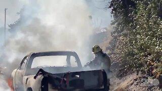 Lebec pickup truck fire