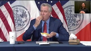 DeBlasio Stuffs His Face While Bribing NY'ers To Get Vaccinated