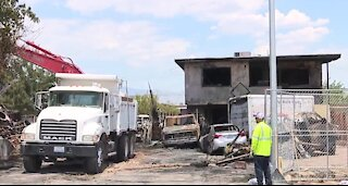 North Las Vegas firefighters battle early morning fire caused by fireworks