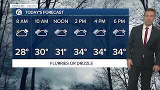 Metro Detroit Forecast: Morning flurries or drizzle