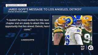 Jared Goff shares message with Rams, Lions fans