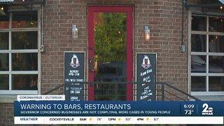 Warning to bars, restaurants