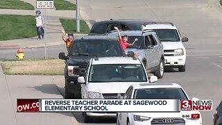 Reverse teacher parade at Sagewood Elementary School