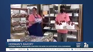 """Herman's Bakery in Dundalk says """"We're Open Baltimore!"""""""