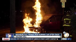 Woman pulled from burning SUV after crash in Golden Hill