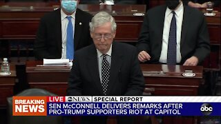 Sen. Mitch McConnell delivers remarks after pro-Trump riot at Capitol