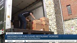 Furloughed restaurant workers receive groceries
