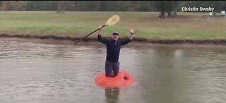 Man turns pumpkin into a boat