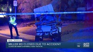 Crash involving golf cart causes road closure